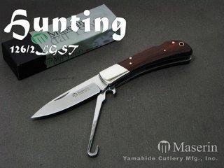 【AH】Maserin マセリン 126/2LGST ハンティング 2刀 バードフック付 折り畳みナイフ