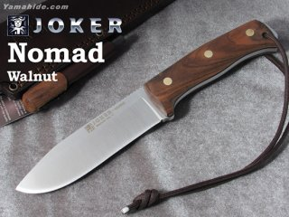 <img class='new_mark_img1' src='https://img.shop-pro.jp/img/new/icons41.gif' style='border:none;display:inline;margin:0px;padding:0px;width:auto;' />【AH】Joker NOMAD BUSHCRAFT KNIFE WALNAT HANDLE ジョーカー ノマド ウォールナット ファイヤースチール付き ブッシュクラフトナイフ
