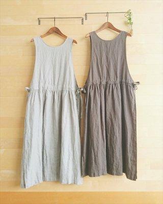 【blue willow】リネン平織り サイドリボンワンピース