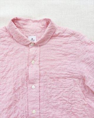 【ashuhari】シャーリング ラウンドカラー半袖シャツ