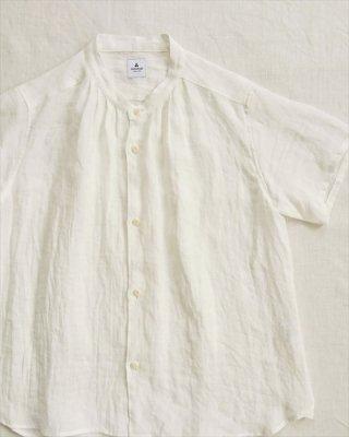 【ashuhari】バンドカラー タック半袖シャツ