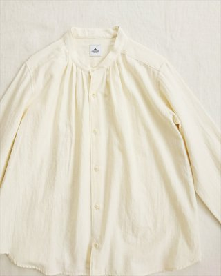【ashuhari】バンドカラー タックシャツ