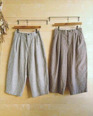 【blue willow】コットンリネン変わり織り タッククロップドパンツ