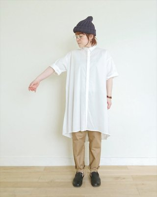 【nume】コットン 5分袖バルーンロングシャツ