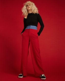 W HI-WAIST WIDE PANTS<br>RED×BLUE<img class='new_mark_img2' src='https://img.shop-pro.jp/img/new/icons20.gif' style='border:none;display:inline;margin:0px;padding:0px;width:auto;' />