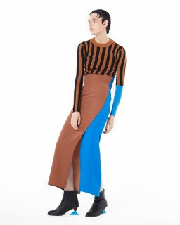 <b><font color='red'>NEW</font></b>2TONE HI-WAIST SKIRT<br>CAMEL×BLUE