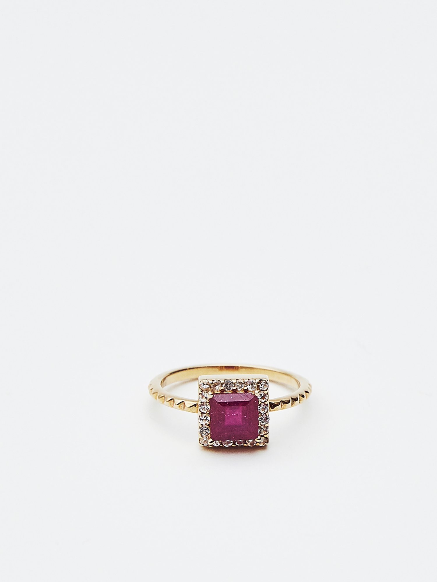 HISPANIA / Classic square ring Ruby 11号/ 在庫商品