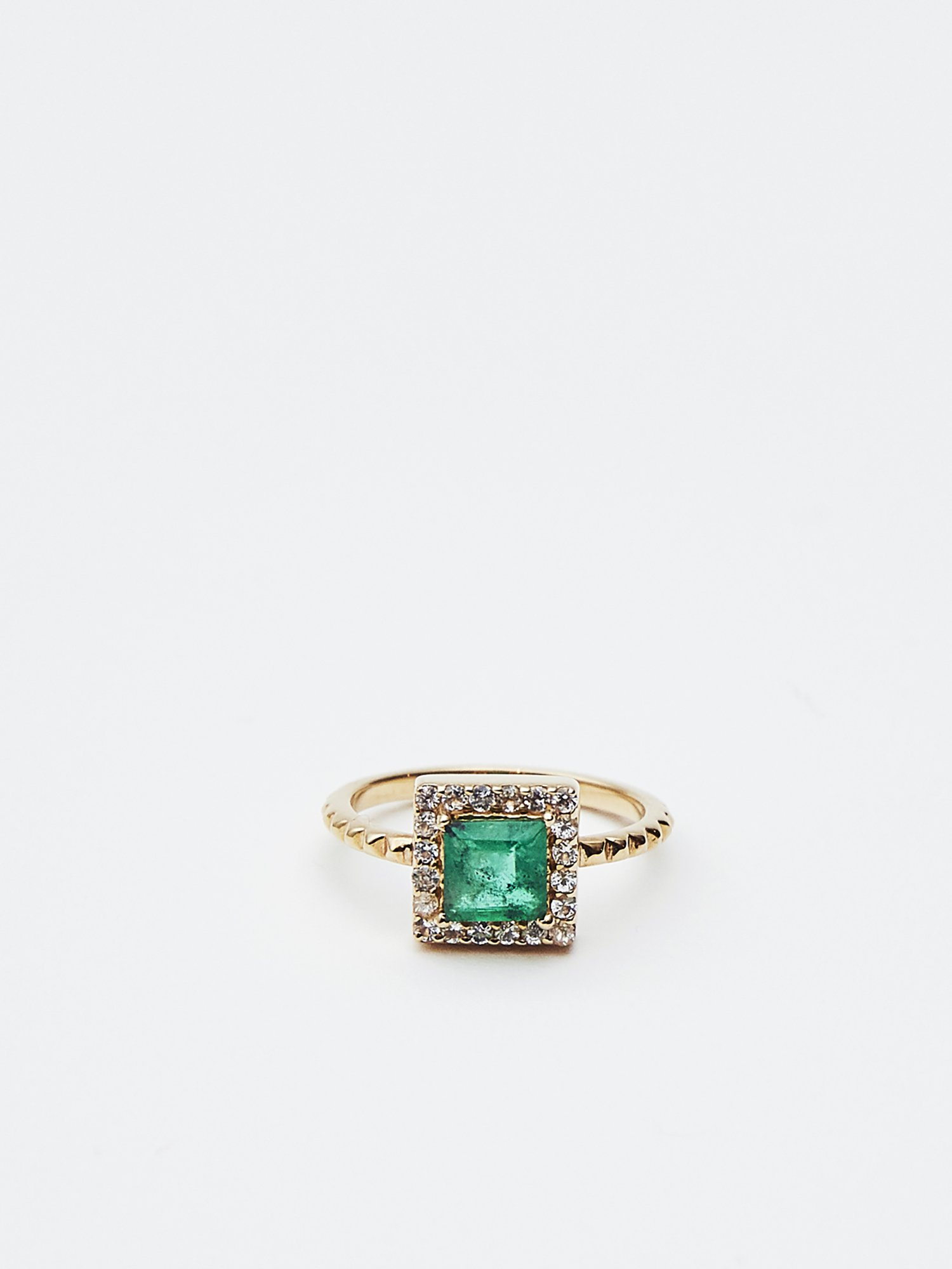HISPANIA / Classic square ring Emerald 11号/ 在庫商品