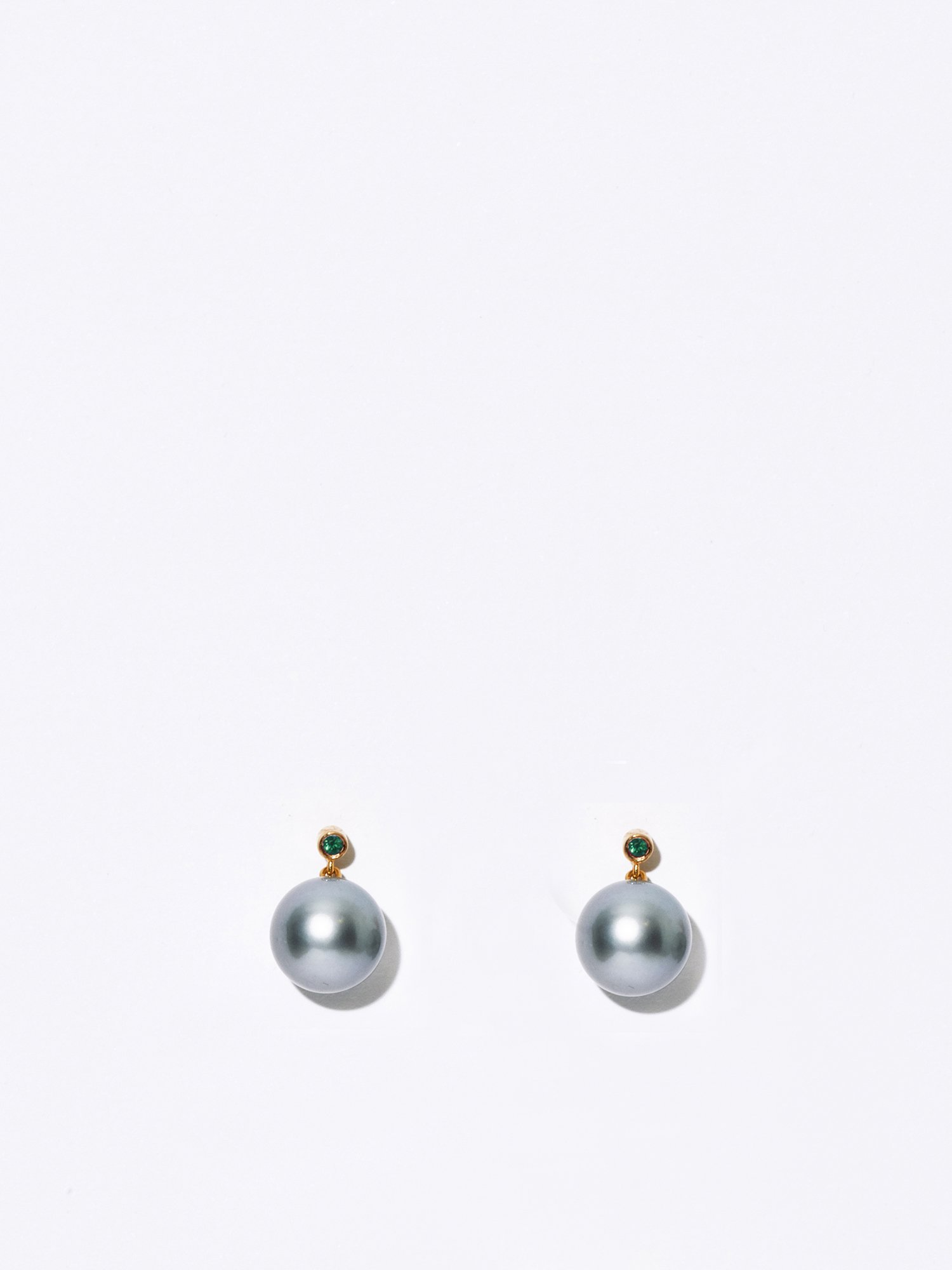 SOPHISTICATED VINTAGE / Drop pearl earrings Emerald / 在庫商品