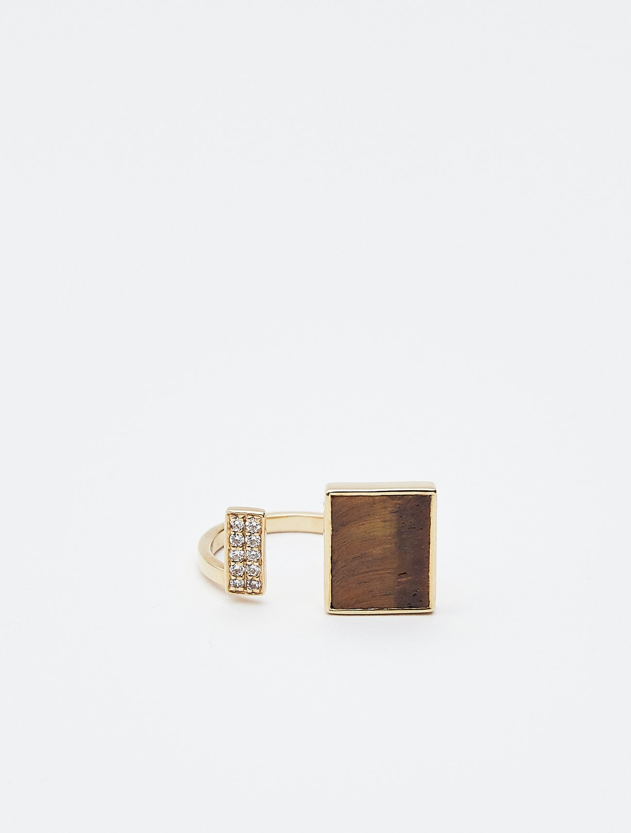 SOPHISTICATED VINTAGE / Open square ring 11号 / Tiger eye, Diamond  在庫商品