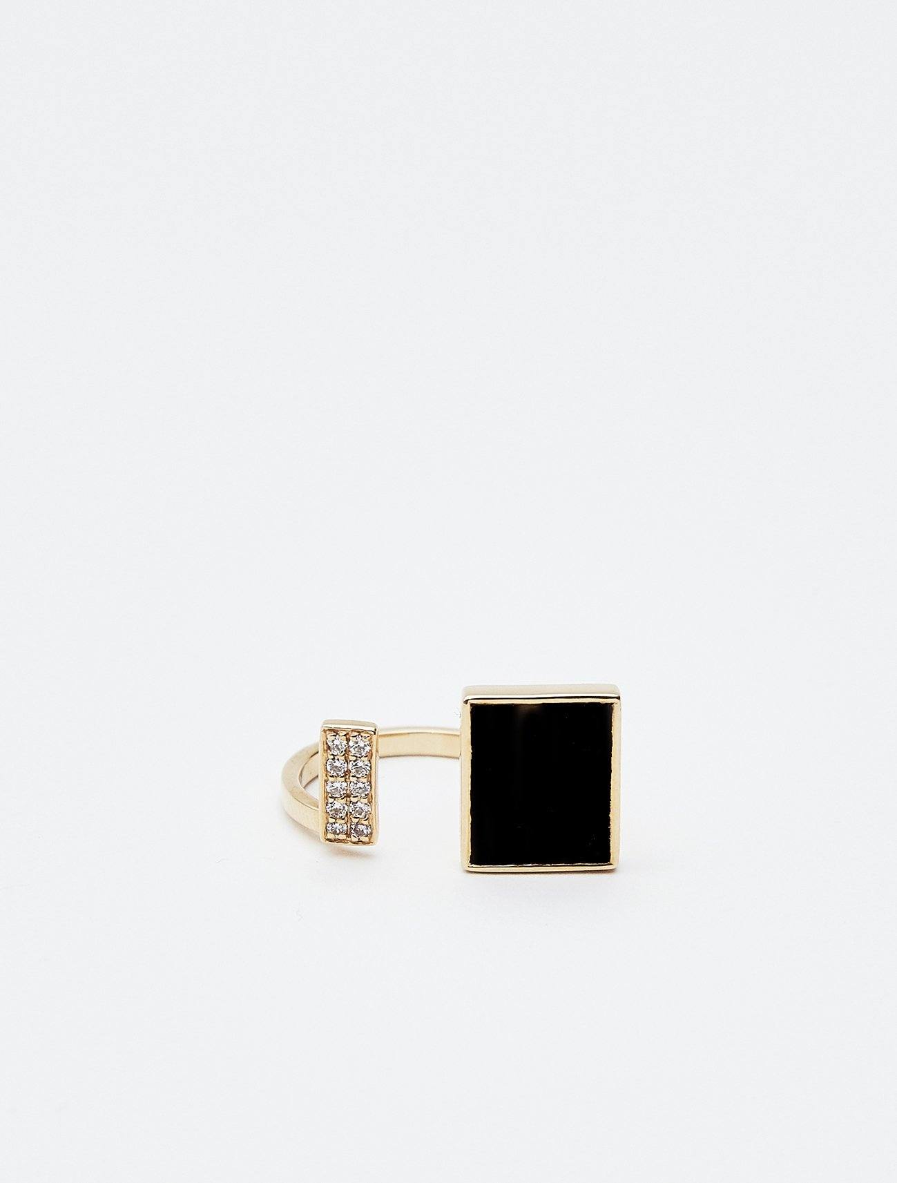 SOPHISTICATED VINTAGE / Open square ring 11号 / Onix, Diamond  在庫商品