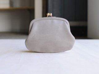 <StitchandSew/スティッチアンドソー>牛蝋引き小型がま口財布(Charcoal Gray)