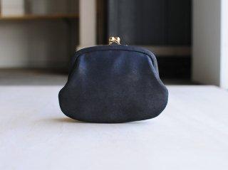 <StitchandSew/スティッチアンドソー>牛蝋引き小型がま口財布(Black)