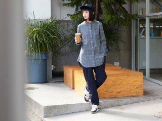 <L&HARMONY WOMEN/エルアンドハーモニーウーマン>ウィンドウペンチェックマオカラーフレアシャツ(Gray)
