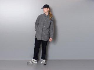 <L&HARMONY MEN/エルアンドハーモニーメン>ウィンドウペンチェックロングフレアシャツ(Gray)