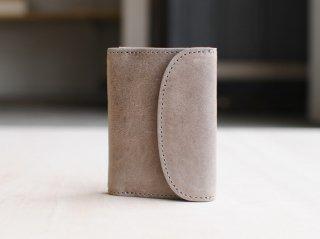 <StitchandSew/スティッチアンドソー>牛蝋引き小型三つ折財布(Charcoal Gray)