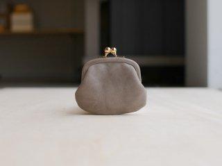 <StitchandSew/スティッチアンドソー>牛蝋引きがま口小銭財布(Charcoal Gray)