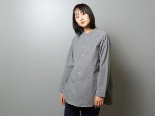 <L&HARMONY/エルアンドハーモニー>シアサッカーマオカラーフレアシャツ(Gray)