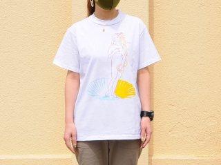 """【アーティスト×世界の名画シリーズ第一弾】<L&HARMONY/エルアンドハーモニー>苦虫ツヨシ×L&HARMONY Tシャツ""""ヴィーナスの誕生""""(White)"""