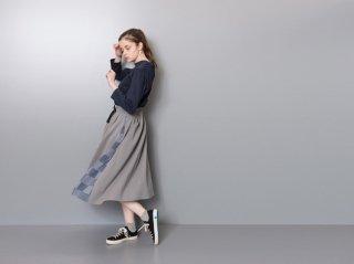 <L&HARMONY/エルアンドハーモニー>パッチワークニットスイッチスカート(Gray)