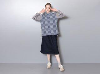 <L&HARMONY/エルアンドハーモニー>パッチワークニットスイッチシャツ(Gray)