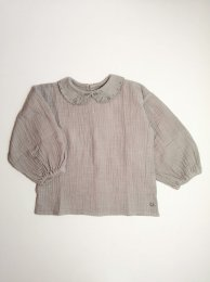<img class='new_mark_img1' src='https://img.shop-pro.jp/img/new/icons14.gif' style='border:none;display:inline;margin:0px;padding:0px;width:auto;' />Tocoto Vintage/Bobo collar blouse with puff sleeves/Grey