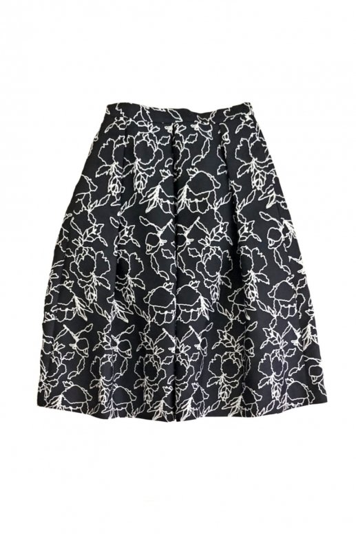 Line Flower Jacquard Skirt(black)
