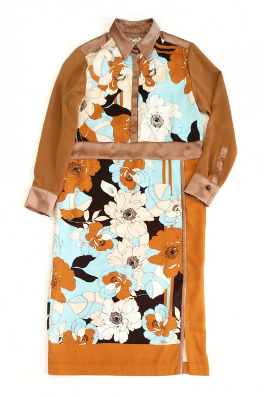 Flower Scarf Print Dress(mocha)