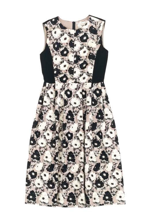 Contrast Flower Lace Sleeveless Dress