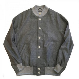GB Sport / COTTON-LINEN CLASS VARSITY JACKET (Green Chambray)
