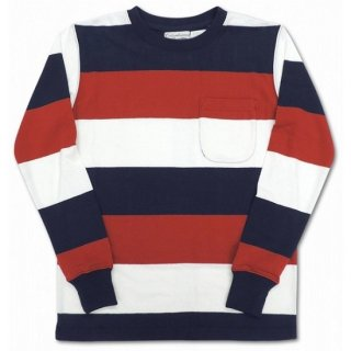 COLUMBIA KNIT / l/s 3color wide border  (NAVY/RED/WHITE)