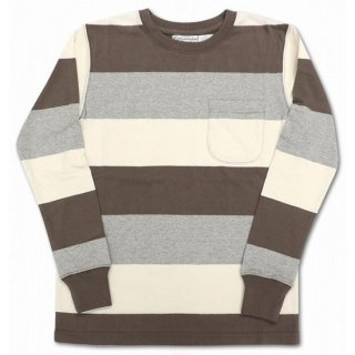 COLUMBIA KNIT / l/s 3color wide border  (MOCHA/GRAY/NATURAL)