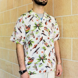AVANTI /  S/S SILK HAWAIIAN SHIRT - SURF N HULA WHITE