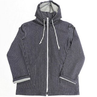 PINECONE / INDIGO STRETCH KNIT STRIPE  HOODED JACKET