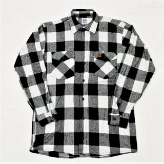 BIG BILL / MADE IN U.S.A  #121 BRAWNY FLANNEL SHIRT (WHITE / BLACK)