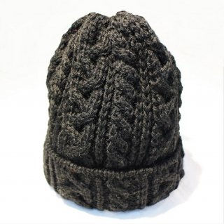 HIGHLAND 2000 /  WOOL CABLE WATCH CAP #016 BOBCAP (BLACK)