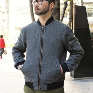 LEFTY O'DOULS  / WOOL REVERSIBLE MA-1 JACKET ( CHARCOAL / RED )