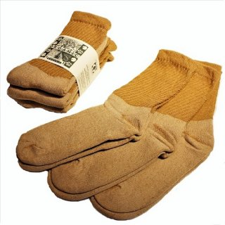 ORGANIC THREADS / 3p regular crew socks BROWN