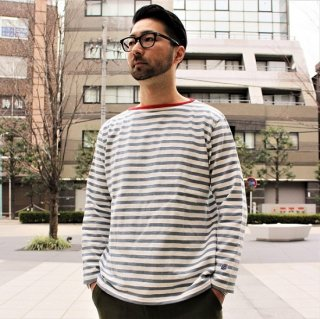 PINECONE x Tieasy / Border boatneck L/S  WHITE / L.BLUE