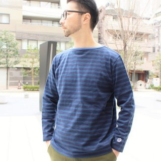 PINECONE x Tieasy / Border boatneck L/S  NAVY / ANCHOR BLUE