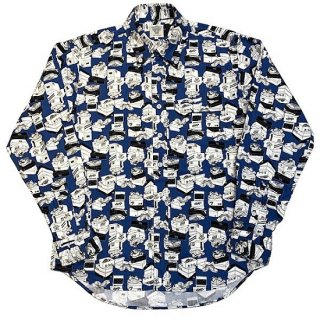 シャーキーズ SHARKEY'S / 長袖 ボタンダウンシャツ スニーカー柄 L/S BD SHIRT (BLUE)