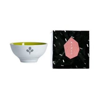 ノコサナイ茶碗 葉のイラスト(グリーン)