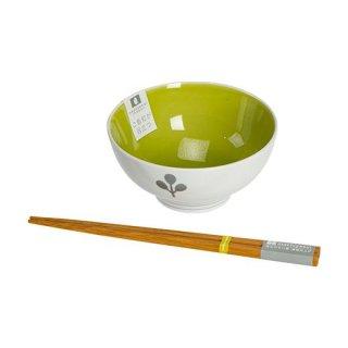 茶碗(グリーン)&持ちやすい箸ギフト
