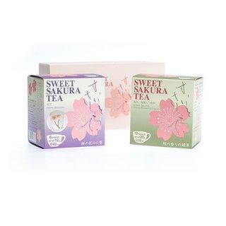 【賞味期限2018年10月1日まで】スイートサクラティー 2個セット(桜花、緑茶)