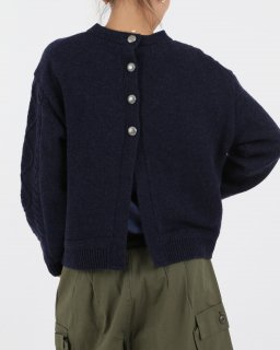 【MAISON No.8】 Crewneck Back Open Knit NAVY
