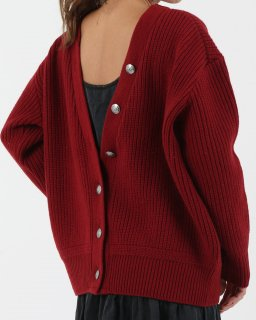 【MAISON】No.8 Vneck Back Open Knit  RED