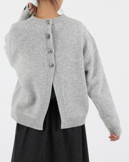 【MAISON No.8】 Crewneck Back Open Knit L.GRAY