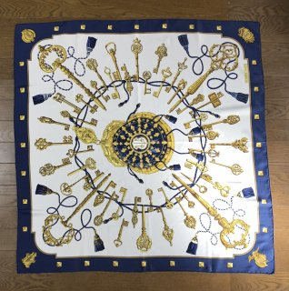【HERMES】SCARF GOLD ×NAVY×WHITE