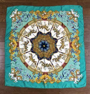 【HERMES】SCARF MINT×GOLD