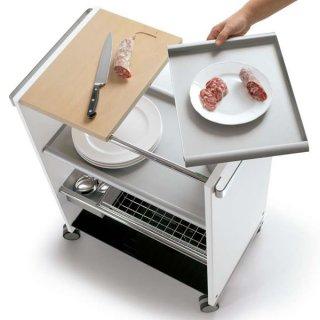 コンビ キッチンサービスワゴン(トレイ カッティングボード付)/COMBI cucina 0/165イタリア組立家具pezzani(幅64奥行40高さ82)